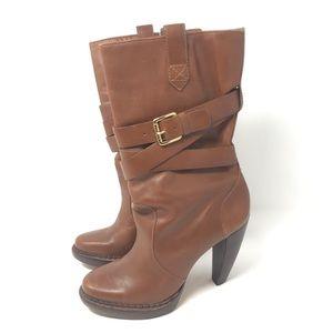 Michael Kors 8.5 Lisa Leather Mid Calf Heeled Boot